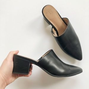 A New Day Black Block Heel Slip-on Mules